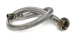 Hose flexible metal braid on a white background Stock Photos