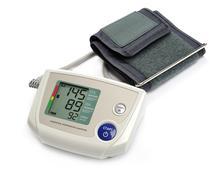 Tonometer - Digital blood pressure monitor on white background Stock Photos