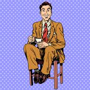 Man drinking tea sitting on the stool - stock illustration