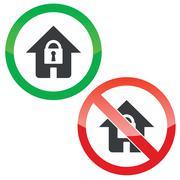 Lock house permission signs set - stock illustration