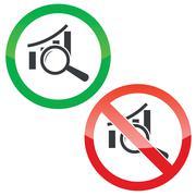 Examine graphic permission signs set Stock Illustration