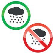 Rain permission signs set Piirros