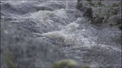 Stock Video Footage of River flowing smoothly rock on the foreground 100fps 1080p