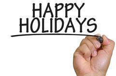 hand writing happy holidays - stock photo