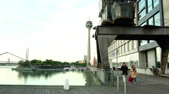 ULTRA HD 4K real time shot,Dusseldorf Harbor with postmodern architecture Stock Footage