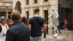 Street artist in Covent Garden, London Stock Footage