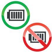 Full energy permission signs set - stock illustration