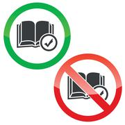 Select book permission signs set - stock illustration