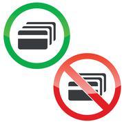 Credit card permission signs set - stock illustration