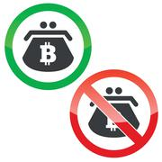 Bitcoin purse permission signs set - stock illustration