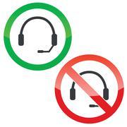 Headset permission signs set - stock illustration