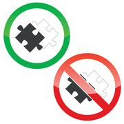 Stock Illustration of Place puzzle permission signs set