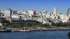 Havana. View of the old city through a bay from Morro's fortress. Stock Footage