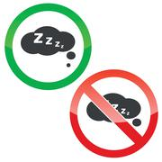 Sleeping thought permission signs set Stock Illustration
