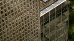 Stock Video Footage of Aerial London - Close-Up of 1 Canada Square, Canary Wharf