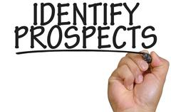 Hand writing identify prospects Stock Photos