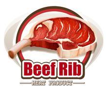 Beef rib - stock illustration