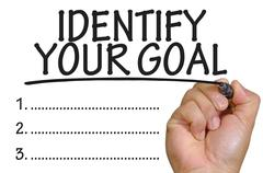 Hand writing identify your goal Stock Photos