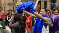 Birmingham Gay Pride - South Asian LGBT Group and drag queens Stock Footage