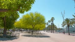 Promenade in Barcelona, clear blue sky and green trees, summer outdoors Stock Footage