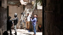 Television Crew and Riot Police Near Temple Mount in 4K Stock Footage