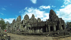 SIEM REAP - 4K resolution Time Lapse of Bayon temple with tourists. Cambodia. Stock Footage