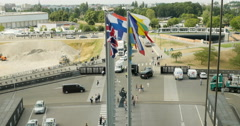 European Union member state flags seen from above Stock Footage