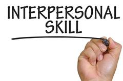 Hand writing interpersonal skill Stock Photos