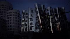 ULTRA HD 4K real time shot,The building complex Neuer Zollhof, Düsseldorf, Stock Footage