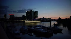 ULTRA HD 4K real time shot, night view of Dusseldorf Harbor Stock Footage