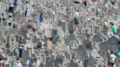 Crowded Hong Kong Cemetery with Chinese Inscribed Headstones Stock Footage