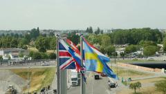 European Union member state flags seen from above in slow motion Stock Footage