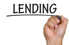 hand writing lending - stock photo