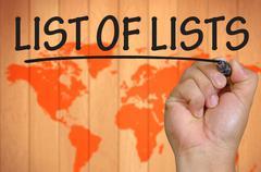 Hand writing list of lists Stock Photos