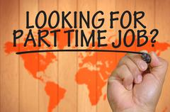 hand writing looking for part time job - stock photo