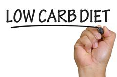Hand writing low carb diet Stock Photos