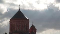 The dome of the Armenian Church complex against the winter sky. Time lapse Stock Footage