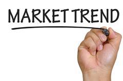 hand writing market trend - stock photo