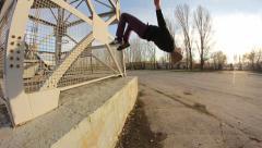 Hip-hop style dancer make jump Stock Footage