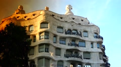ULTRA HD 4K real time shot,Twilight scene of Casa Mila (La Pedrera) in BARCELONA Stock Footage