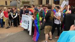 Birmingham Gay Pride - youngsters from University of Birmingham LGBTQ Stock Footage