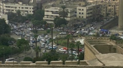 Cairo road circle and traffic with audio Stock Footage