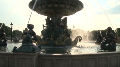 Wide Shot of Fountain at Place de la Concorde Stock Footage