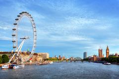 London, the UK skyline. Big Ben, London Eye and River Thames. English symbols - stock photo