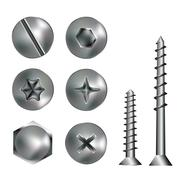 Six Screws and heads - stock illustration