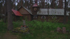 Wooden Church in Forest Stock Footage