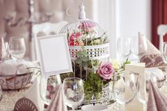 Flowers and wedding table beautifully decorated Stock Photos