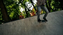 Skater performing stunts in a skatepark Stock Footage