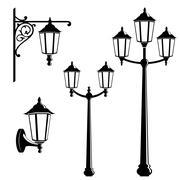 Graphic vintage street lantern Stock Illustration