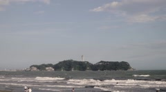 Slow motion footage of the beach in Enoshima, Kanagawa Prefecture, Japan Stock Footage